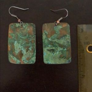 Jewelry - Patina rectangle earrings. NWOT!